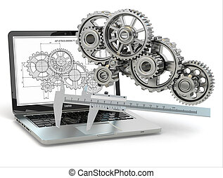 ingranaggio, computer-design, trammel, laptop, engineering., draft.