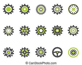 ingranaggio, dente, serie, verde, icone