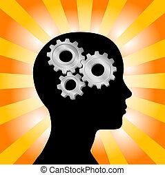 ingranaggio, pensare donna, testa, arancia, profilo, giallo, raggi