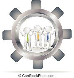ingranaggio, persone, vettore, squadra, logotipo, 3d