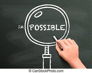 ingrandendo, trovare, possibilità, mano, disegnato, vetro, fuori