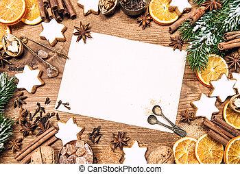 ingredienti, cibo, dolce, vacanze, carta, decorazioni, natale