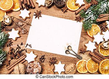 ingredienti, cibo, dolce, vacanze, decorazioni, natale