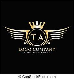 iniziale, template., ta, lettera, ala, logotipo, reale