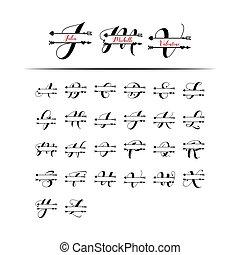 iniziale, vettore, monogram, divisione, isolato, amore, set, lettera
