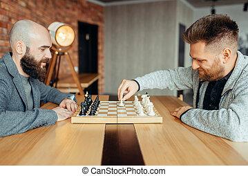 iniziare, gioco, spostare, lettori, scacchi, maschio, primo