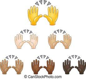 innalzamento, mani, emoji