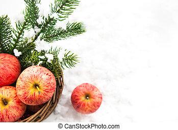innevato, natale, cesto, mele, ramo, abete rosso, composizione, rosso