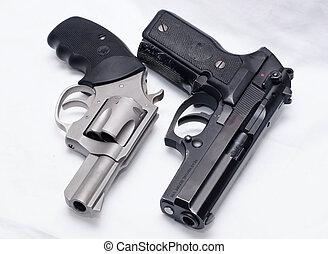inossidabile, rivoltella, pistola, nero