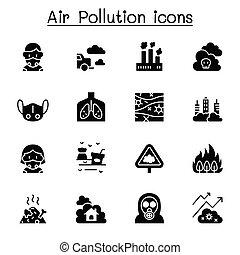 inquinamento atmosferico, set, icona, disegno, grafico, vettore, illustrazione