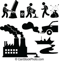 inquinamento, globale, verde, warming, icona