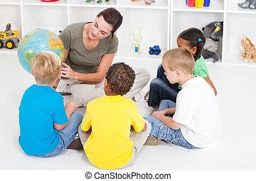 insegnamento, bambini, insegnante, prescolastico