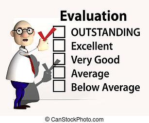 insegnante, esecuzione, ispettore, capo, valutazione, assegno