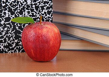 insegnanti, mela, scrivania