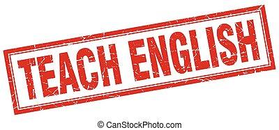 insegnare, inglese, francobollo, quadrato