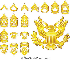 insegne, esercito, icone, rango, americano, arruolato