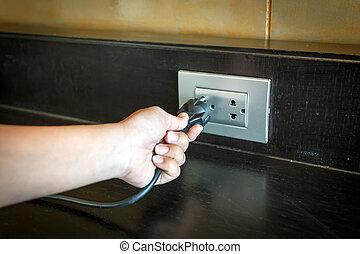 inserire, spina, parete, mano, elettrico, socket.