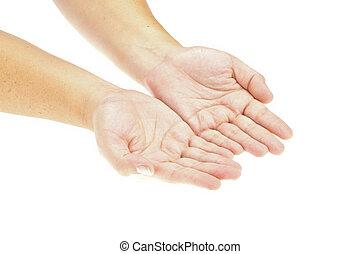 inserto, mano, product., immagine, isolato, object., tenere mani, aperto, tuo
