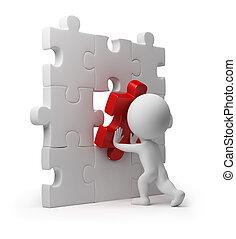 inserto, persone, puzzle, -, piccolo, 3d