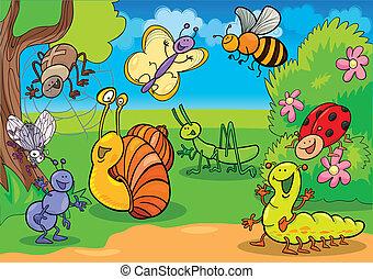 insetti, cartone animato, prato