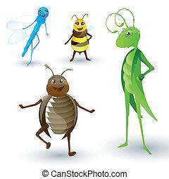 insetti, vettore, cartone animato