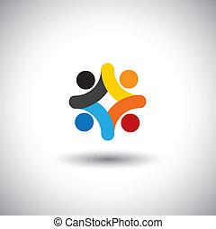 insieme, comunità, colorito, gioco, anche, -, persone, solidarietà, vettore, bambini, riunione, personale, &, scuola, graphic., lattina, unità, bambini, icone, illustrazione, campo di gioco, rappresentare, concetto, questo
