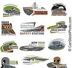 insieme costruzione, autostrada, strada, icona