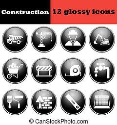 insieme costruzione, lucido, icone