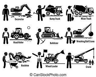 insieme costruzione, veicoli