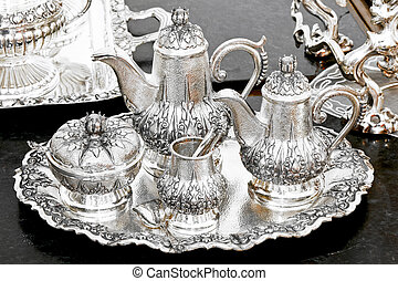insieme tè, argento