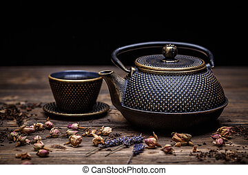 insieme tè, closeup