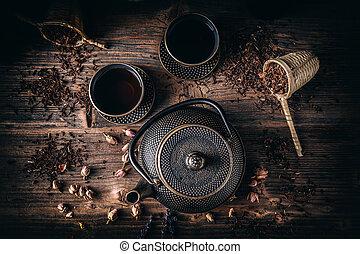 insieme tè, ferro, asiatico