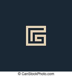insolito, isolato, vettore, architettura, lettera, g., geometrico, logo., monogram.