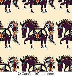 insolito, modello tessuto, tribale, seamless, animale, etnico