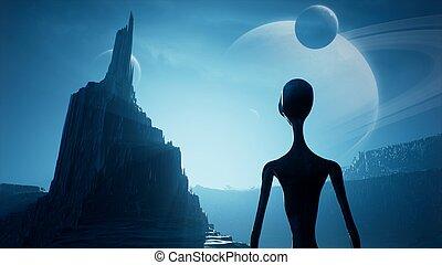 insolito, planet., lontano, paesaggio, attesa, alba, rendering., 3d, suo, bello, space., pianeta, straniero