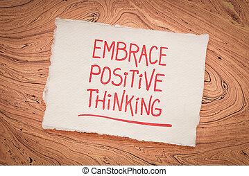 inspirational, scrittura, abbracciare, -, pensare, positivo