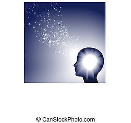 inspration, persona, brillante, luce, scintilla, facce, bianco