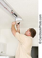 installare, illuminazione, fluorescente