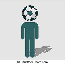instead, testa, palla, ventilatore, calcio