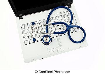 integrità dei dati, interno, stetoscopio, laptop.