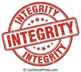 integrità, rotondo, francobollo, vendemmia, grunge, rosso, gomma
