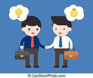 intellettuale, uomo affari, soldi, fare, proprietà, bolla, fra, contratto, due, affare, cooperazione, idea, discorso, concetto