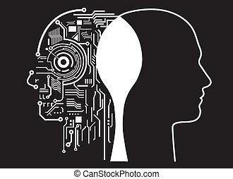 intelligenza, fusione, umano