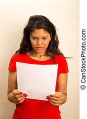 interessato, donna, leggere, document.