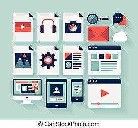 interfaccia, appartamento, set, utente, icone