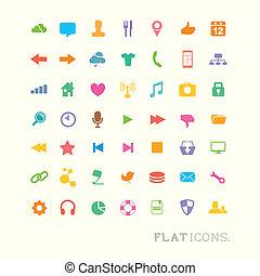interfaccia, colorito, icone