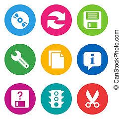 interfaccia, fondamentale, colorare, icone
