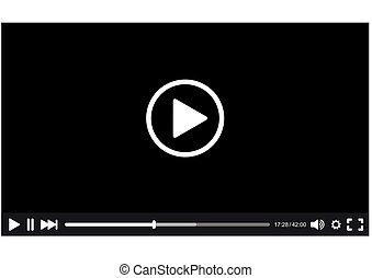 interfaccia, giocatore, video, vettore, web.