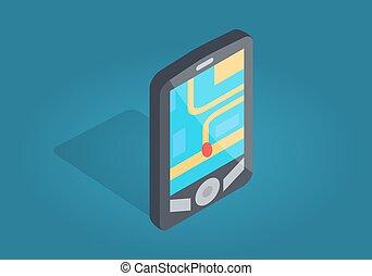interfaccia, telefono, navigazione, posizione, gps