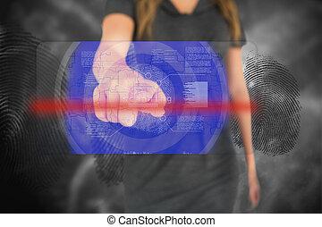 interfaccia, touchscreen, donna d'affari, impronta digitale, toccante
